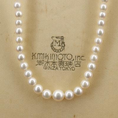 Vintage Mikimoto Graduated Pearl Necklace