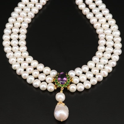Triple Strand Pearl Necklace with Sterling Clasp and Mixed Gemstone Drop