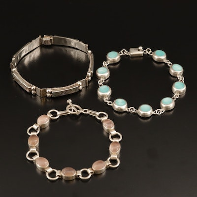 Sterling Silver Abalone, Glass, and Quartz Bracelets