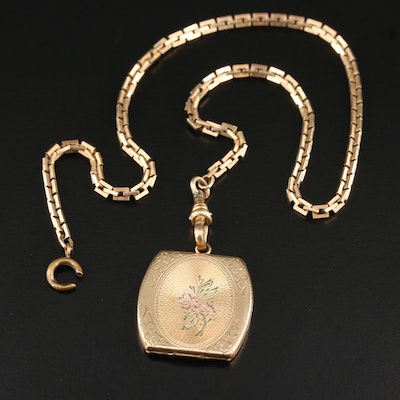 1930s Watch Fob Chain with Locket