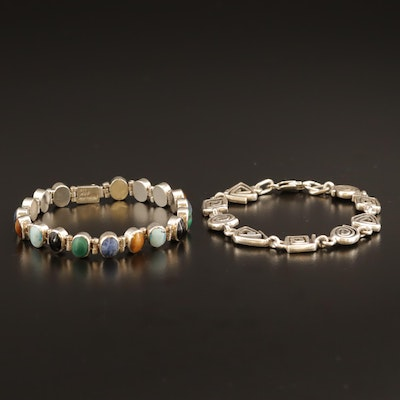 Mexican Sterling Bezel Set Bracelet and Sterling Geometric Spiral Bracelet