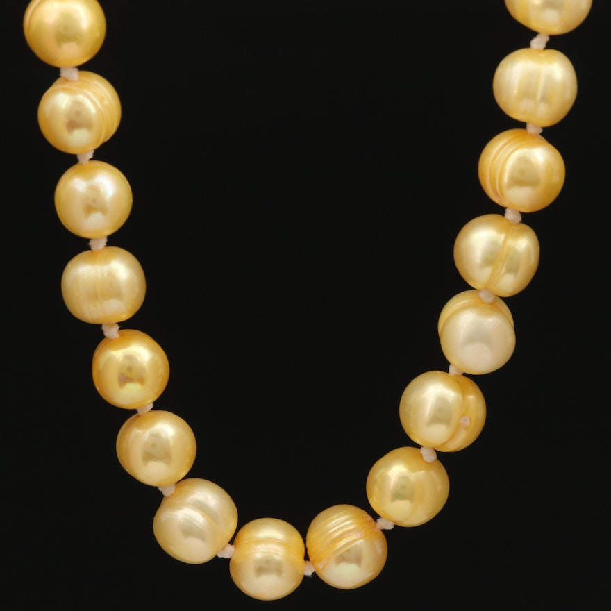 Circular Pearl Necklace with 14K Clasp