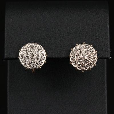 Vintage 14K Diamond Cluster Earrings