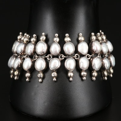Sterling Bezel Set Pearl Bracelet