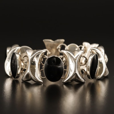 Mexican Sterling Silver Bracelet with Black Onyx