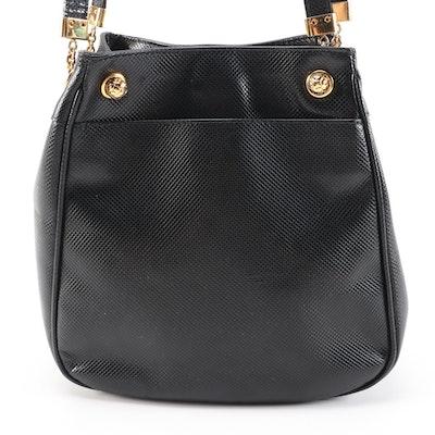 Bottega Veneta Black Karung Embossed Leather Shoulder Bag