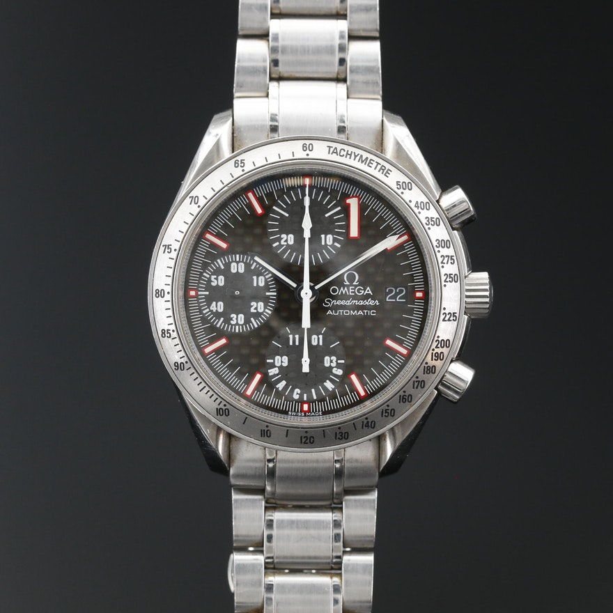 "Omega ""Speedmaster"" with Date Stainless Steel Automatic Wristwatch"