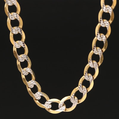 10K Curb Chain Necklace with Diamond Cut Design