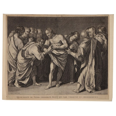 Cornelis van Dalen Engraving of the Doubting St. Thomas, Early/Mid-17th Century