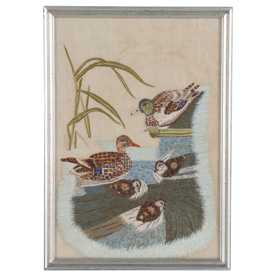 Hand-Stitched Cotton Embroidery of Mallard Ducks, Early 20th Century