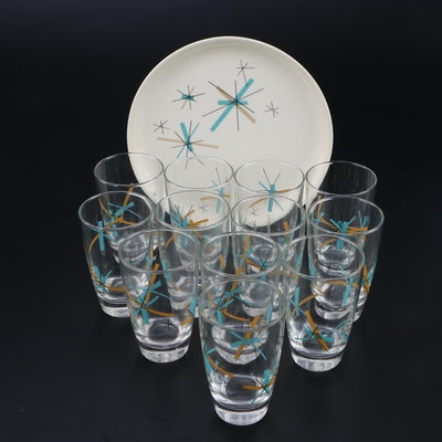 "Salem ""Hop Scotch Turquoise"" Luncheon Plate and Set of Twelve Tumblers"