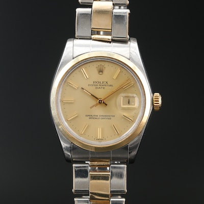 1976 Rolex Oyster Perpetual Date 14K and Stainless Steel Wristwatch