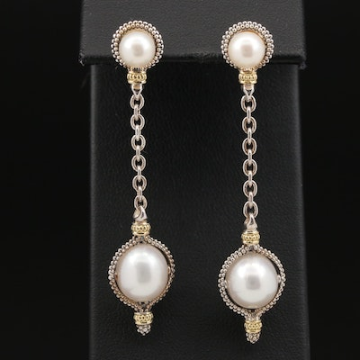 """Lagos """"Luna"""" Sterling Silver Pearl Dangle Earrings with 18K Accents"""