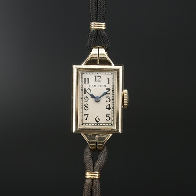 Vintage Hamilton 14K Gold Filled Stem Wind Wristwatch, 1934