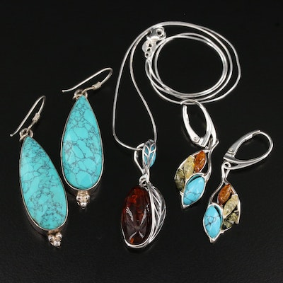 Sterling Pendant Necklace and Earrings Featuring Amber, Turquoise, and Howlite
