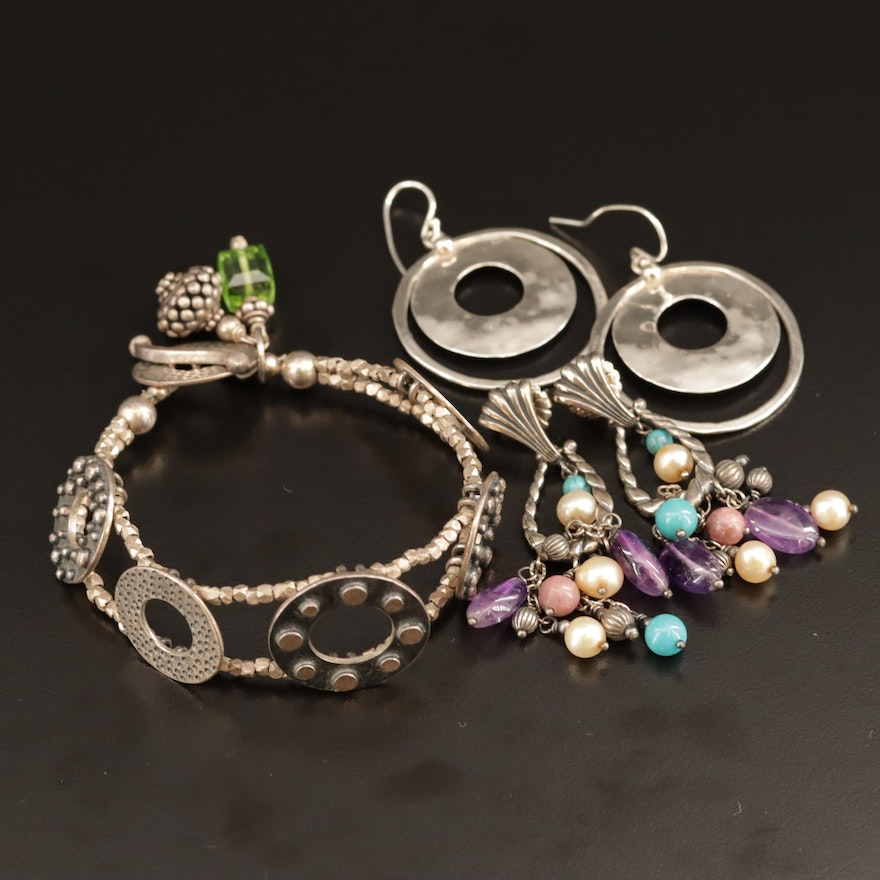 Sterling Bracelet and Earrings Featuring Carolyn Pollack for Relios
