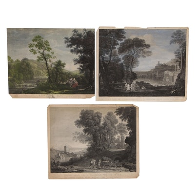 Classical Baroque Landscape Engravings after Claude Lorrain, Late 18th Century