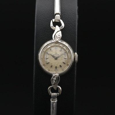 Vintage Omega Saphette 14K White Gold Stem Wind Wristwatch