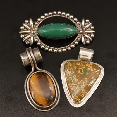 Gemstone Pendants and Brooch Including Jasper and Sterling