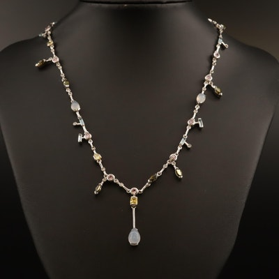 Sterling Silver Chalcedony, Cubic Zirconia, and Glass Drop Necklace