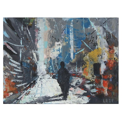 "Leif Janek Abstract Acrylic Painting ""In the City"""