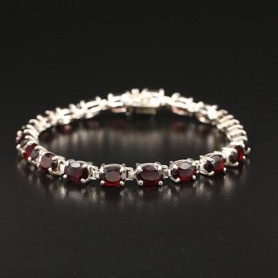 Sterling Silver Garnet Line Bracelet
