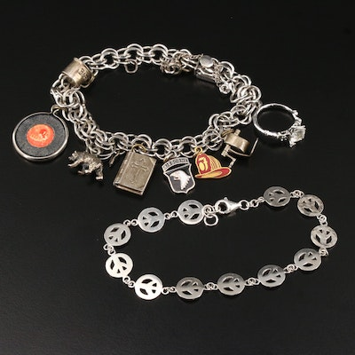 Vintage Sterling Silver Charm and Peace Sign Bracelets