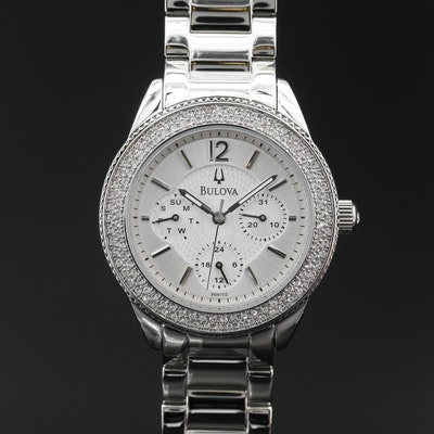 Bulova Crystal Accented Stainless Steel Multi function Quartz Wristwatch