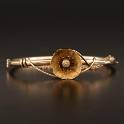 Victorian Poppy Blossom Hinged Bangle