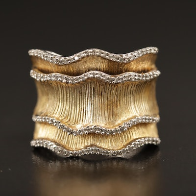 Sterling Silver Diamond Layered Ruffle Ring
