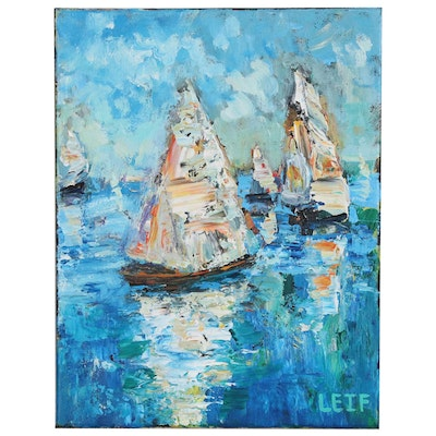 Leif Janek Nautical Acrylic Painting of Sailboats