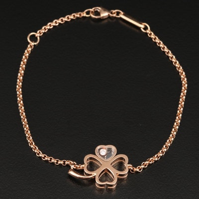 Chopard 18K Rose Gold Floating Diamond Clover Bracelet