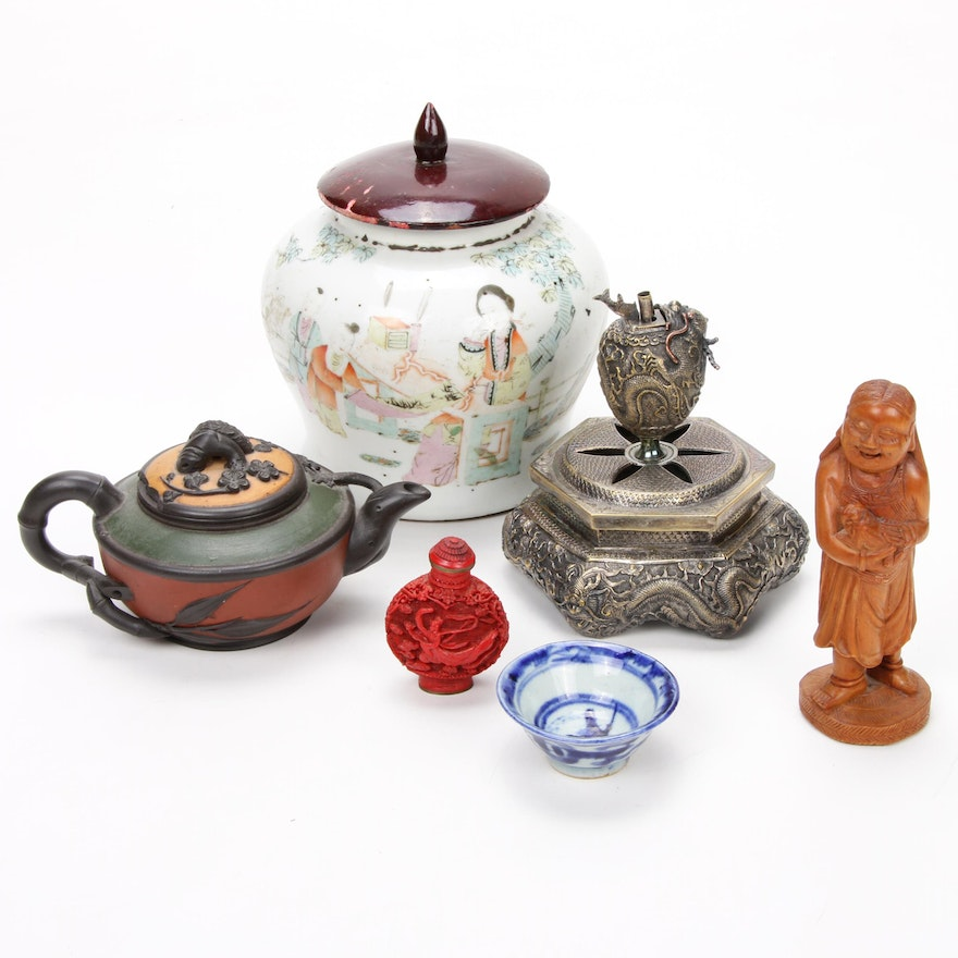 Chinese Guardian Censer, Snuff Bottle, Ginger Jar and More