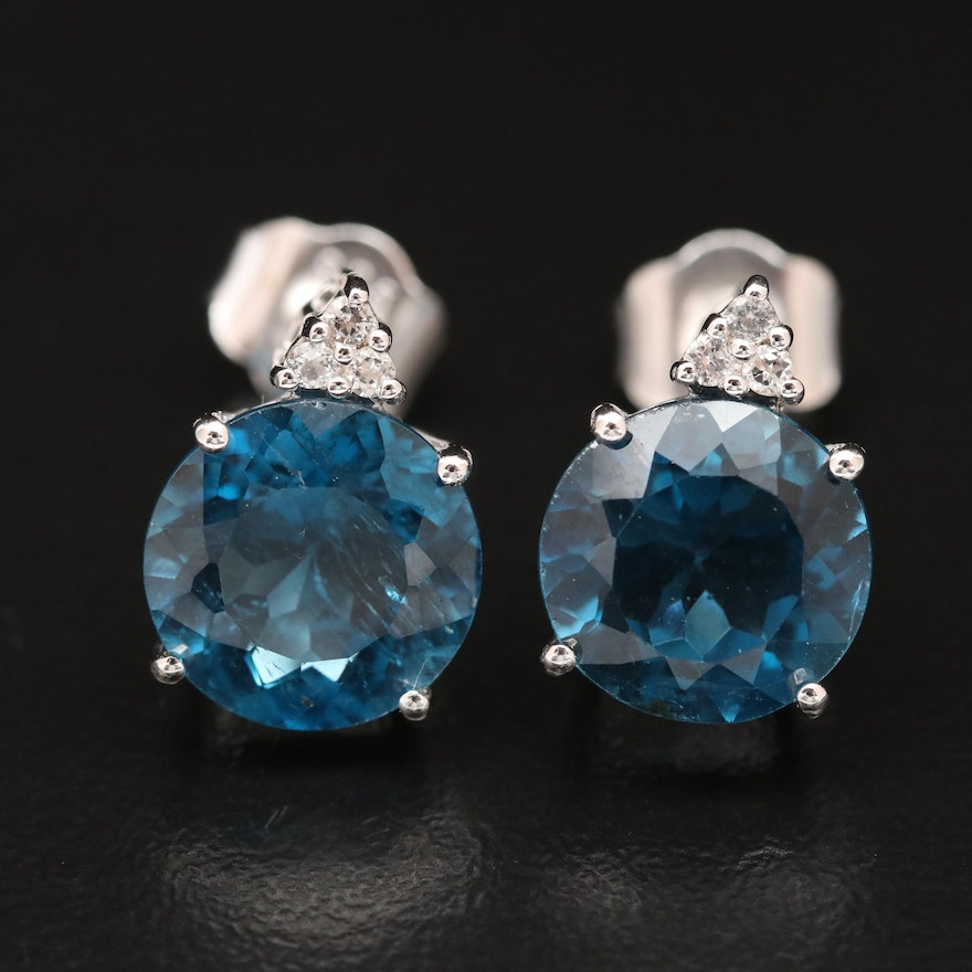 Sterling Blue and White Topaz Drop Earrings