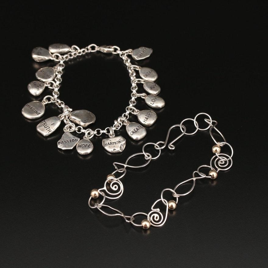 Sterling Silver Affirmation Charm Bracelet and Fancy Link Bracelet