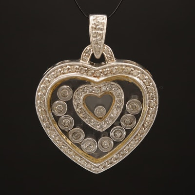 Samuel Benham 14K 1.25 CTW Diamond Floating Heart Pendant