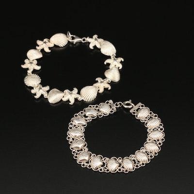 Sterling Seashell and Starfish Motif Bracelets