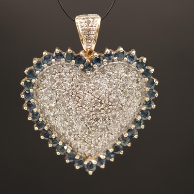 10K Diamond and Sapphire Heart Pendant