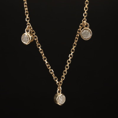 14K 1.05 CTW Diamond Station Necklace