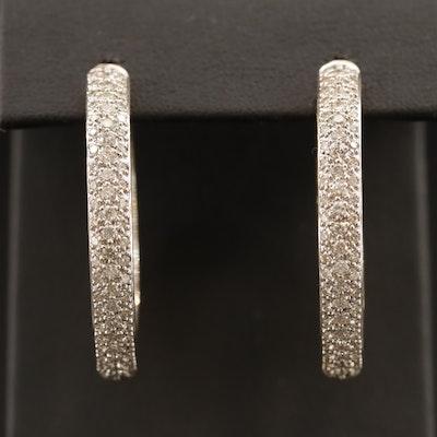 18K 2.25 CTW Pavé Diamond Inside-Out Hoop Earrings