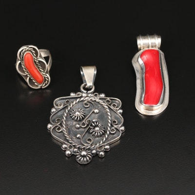 Sterling Silver Pendants and Ring with Coral and Western Themes
