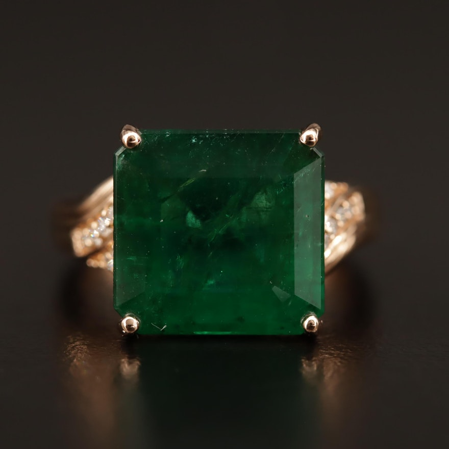 18K 7.92 CT Emerald and Diamond Ring