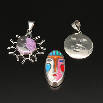Sterling Silver Face Pendants Including Sun and Moon Design
