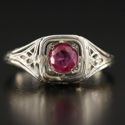 Edwardian 14K Ruby Ring with Filigree Design