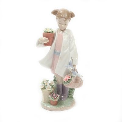 "Lladró ""Delicate Nature Girl"" Porcelain Figurine Designed by José Santaeulalia"