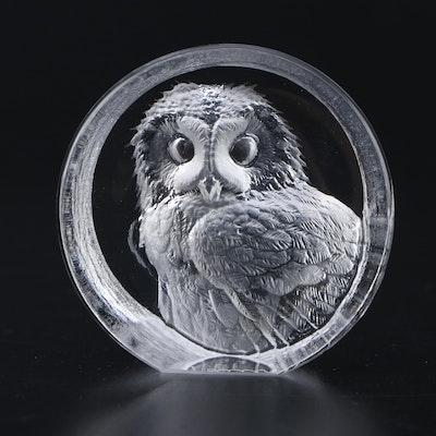 Mats Jonasson Crystal Owl Paperweight