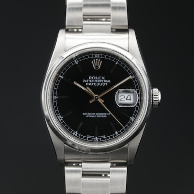 "2005 Rolex ""Oyster Perpetual Date"" Stainless Steel Automatic Wristwatch"