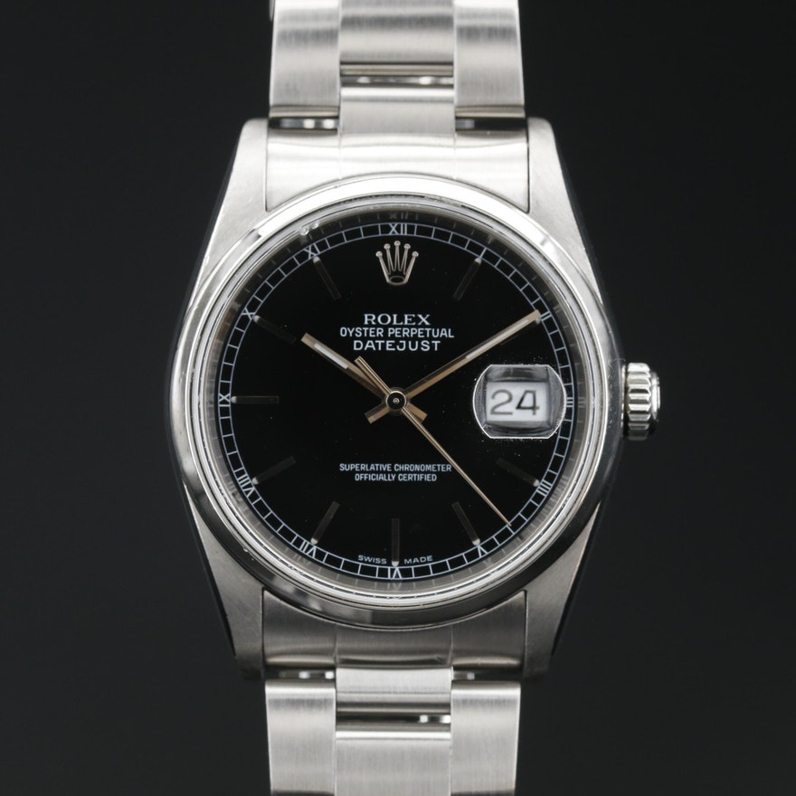 """2005 Rolex """"Oyster Perpetual Date"""" Stainless Steel Automatic Wristwatch"""