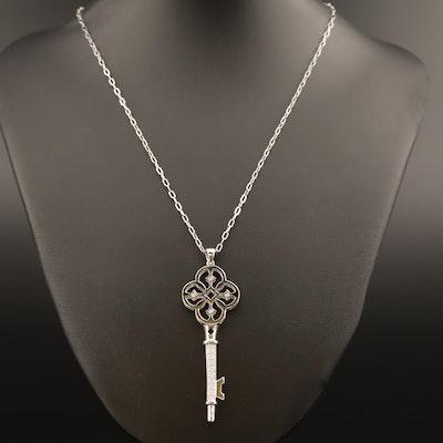 Sterling Silver Diamond Key Pendant Necklace