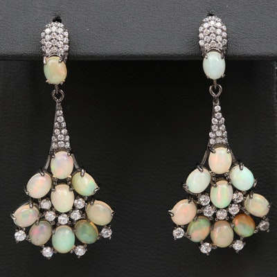 Sterling Opal and Cubic Zirconia Drop Earrings with Darkened Finish